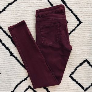 H&M Divided Maroon Skinny Jeans
